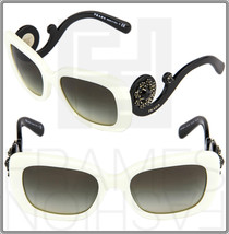 PRADA ORNATE BAROQUE Swirl Jewel Square Sunglasses PR33PSA Black White 33P - $355.51