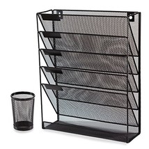 Wall Organizer and Desk File Holder Literature Mail Magazine Rack with F... - $36.21