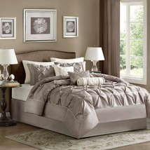Madison Park Laurel 7 Piece Taupe Textured Comforter Set - Gifts for Yo... - $1.921,57 MXN+