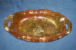 Indiana Glass Marigold Iridescent Carnival Glass Dish Lily Pons Pattern ... - $12.00