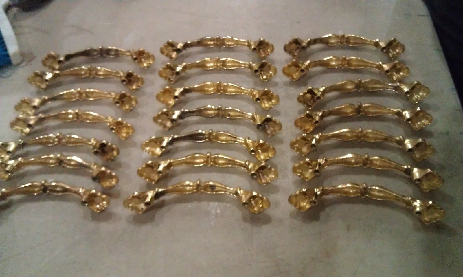 "Primary image for 8T58 SET OF 21 BRIGHT BRASS OVER DIECAST CABINET PULLS: 4-1/2"" LONG, 3"" OC MOUNT"