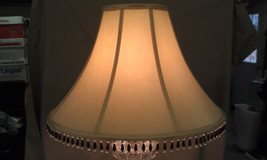 "8U15R Flared Golden Tan Table Lamp Shade w/Beaded Bottom Trim 12"" Tall C... - $50.14"