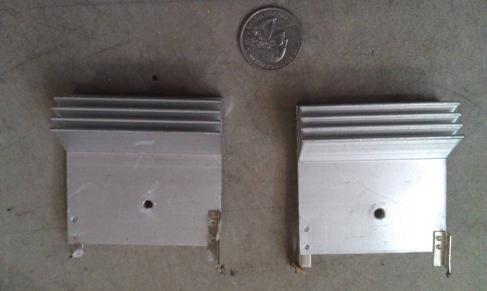 Primary image for 8Z38 PAIR OF ALUMINUM HEAT SINKS, 60X60X22MM, 46G EACH, GOOD CONDITION