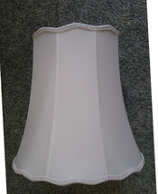 7Y83  Flared White Fabric Lamp Shade w/Scalloped Top & Bottom 6 Sided 15... - $41.73