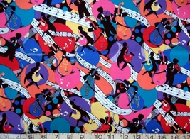 1/2 yard music/colorful jazz musicians/notes quilt fabric -free shipping