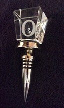 """8K61 Initial """"O"""" Cubed Crystal Wine Bottle Stopper Chrome Base IMMAC COND!! - $19.77"""