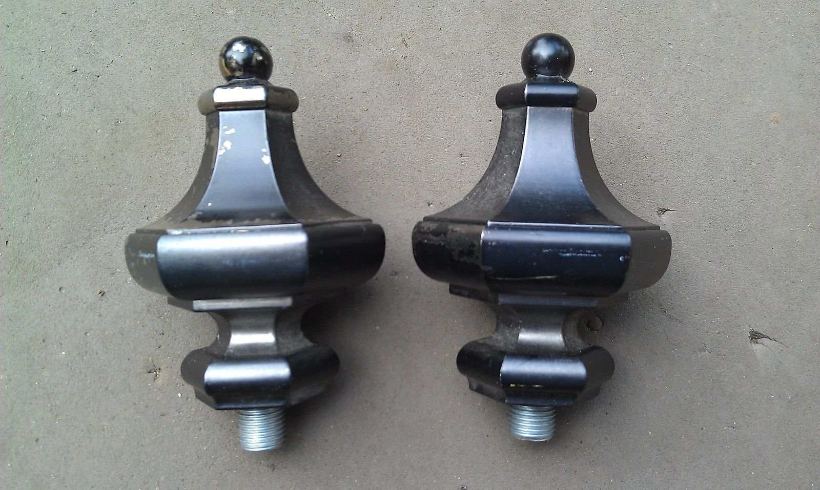 "Primary image for 8I29 PAIR OF DIECAST FINIALS, 7/16"" +/- THREADS, FINISH IS FLAKY, GOOD CONDITION"
