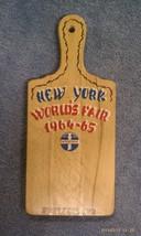 7P52 Vtg 1964-65 New York World's Fair Souvenir Wood Cutting Board Switz... - $26.18