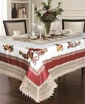 Violet Linen Decorative Printed Fruttela Tablecloth With Lace Trimming, ... - $41.29