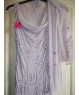 Berketex Lilac Dress & Stole.  Indian Sahri Fabric with exquisite beaded... - $35.00