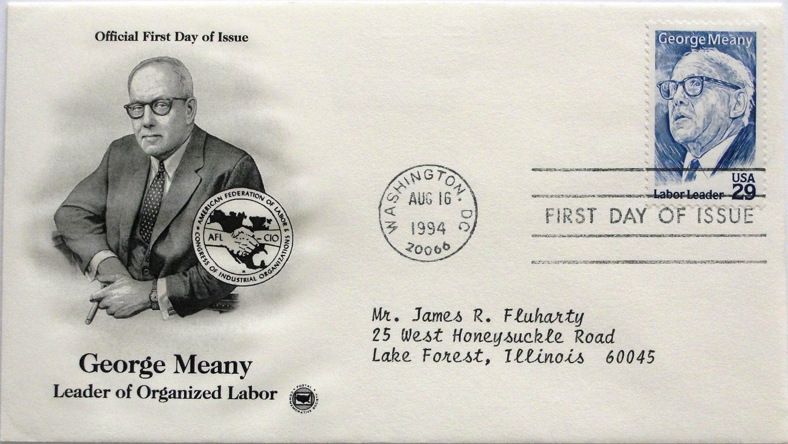Aug. 16, 1994 First Day of Issue, PC Society Cover, George Meany #29