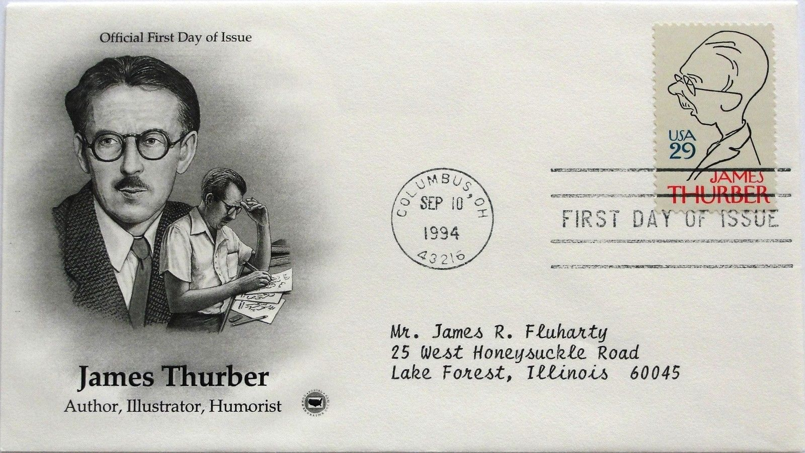 Sept. 10, 1994 First Day of Issue, PC Society Cover, James Thurber #33