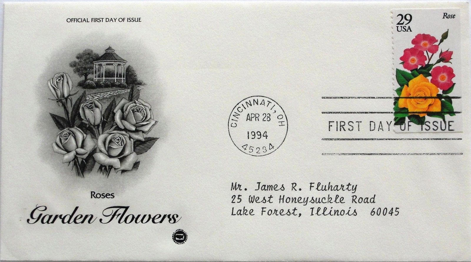 Apr. 28, 1994 First Day of Issue, PC Society Cover, Garden Flowers-Rose #14