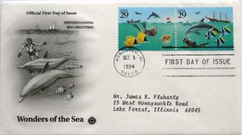 Oct. 3, 1994 First Day of Issue PC Society Cover Wonders of the Sea-Crea... - $1.34