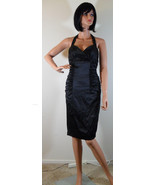 NWT BETSEY JOHNSON Carlyle Black Silk Sequin Halter Dress Size 4 (MAKE A... - $195.53