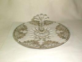 Cambridge glass silver overlay serving plate w fan handle tidbit dessert - $50.00