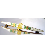 Victorian Guilloche Enamel Brooch Yellow Flower... - $29.00