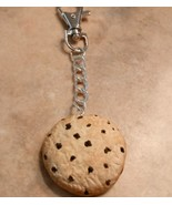 Cute Cookie Keychain Silver Swivel Key Fob Clay Cookie Snack Accessory  - $6.50