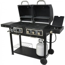 Clearance Hybrid Charcoal Gas Grill Stainless Steel 3-Burner Patio Garde... - £199.70 GBP