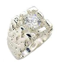 Mens Sterling Silver Russian CZ Nugget Ring