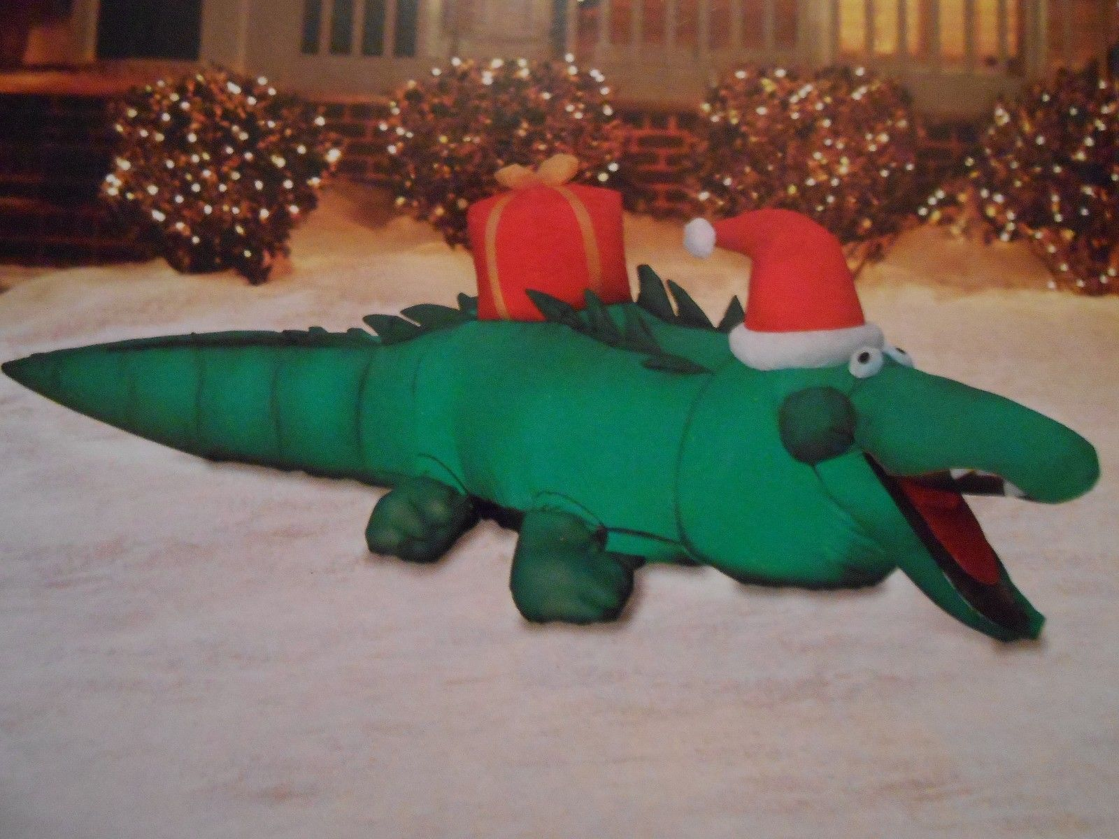New christmas alligator airblown inflatable 7 39 long led for Alligator yard decoration