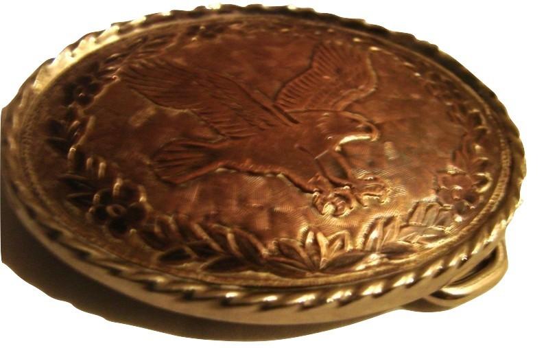 SOARING EAGLE silver tone and copper small belt buckel