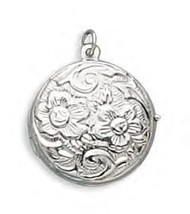 Sterling Silver Round Floral Design Locket - €48,82 EUR