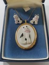 Vintage HMK CDS Hallmark Cards cat necklace w/earrings - $20.08