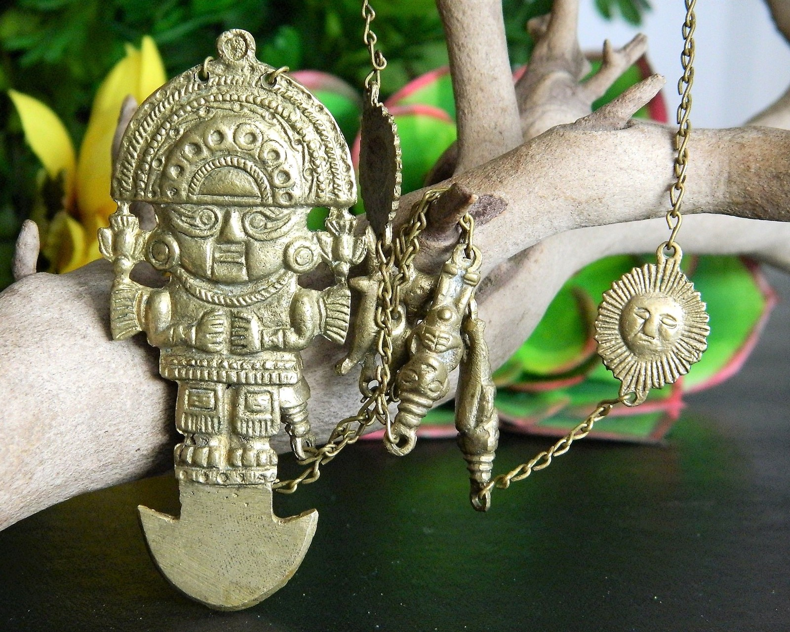 Tumi Pendant Necklace Peruvian Incan Andean Sun God Tribal Peru Llama