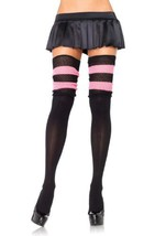 LA6554 (Black/Pink) Scrunchy Knit Thigh High - $10.88
