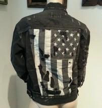 Ralph Lauren Denim & Supply Distressed Flag Black Gray Motorcycle Jean Jacket M - $123.49
