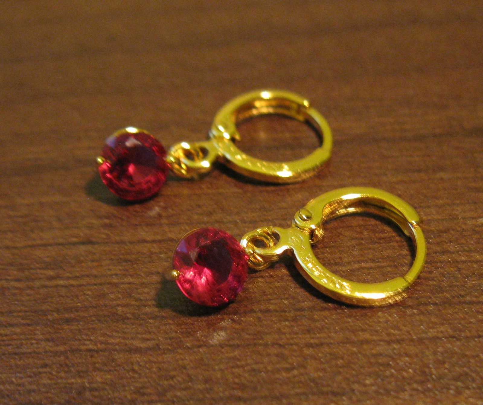 Primary image for Rich Round Red Ruby Dangle Pierced Earrings Beautiful & New #D477