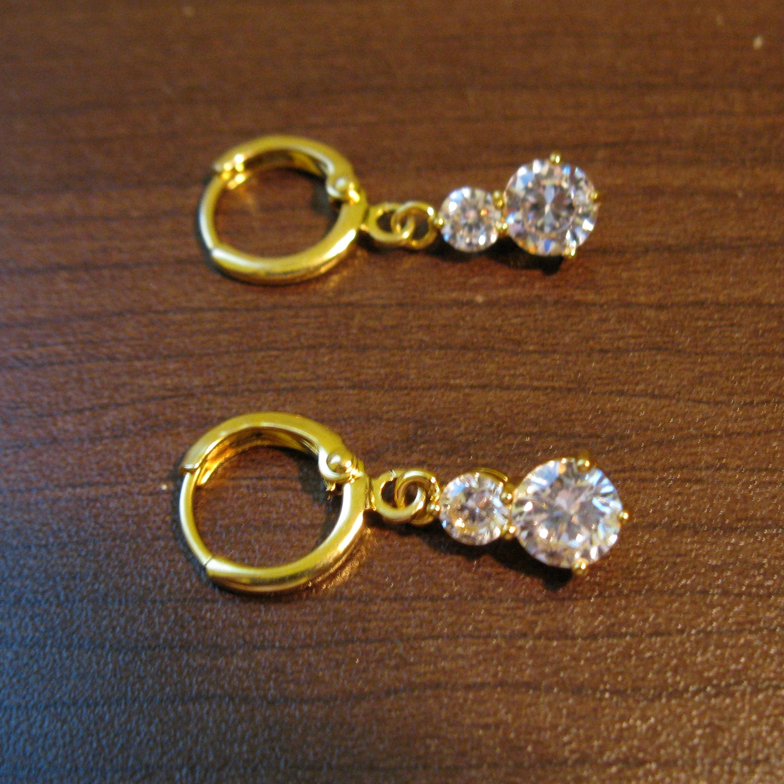 Primary image for Sparkling Double Diamond Dangle Pierced Earrings Beautiful & New #D475