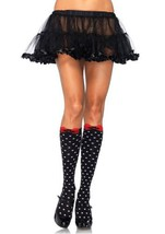 LA5599 Acrylic Polka Dot Knee Highs With Woven Bow Accent - $9.88