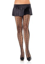 LA9162 Seamless Lattice Lace & Net Striped Pantyhose - $13.88