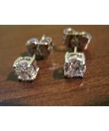 Stunning Silver Round Diamond Stud Pierced Earr... - $10.99