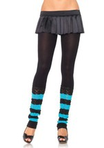 LA7313 (Bk/Tur) Leg Warmer Footless Tights - $10.88