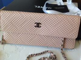 Rare Chanel Wallet Purse On Chain, Pale Pink And Brown Excellent Condition! - $1,153.75