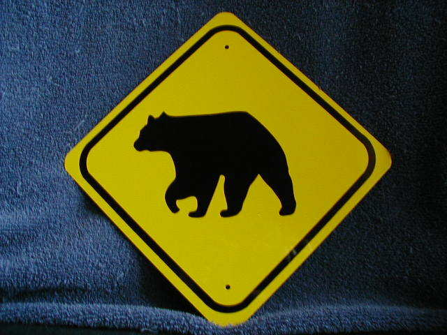 MINI MINIATURE BEAR TRAFFIC SIGNS  METAL 8""