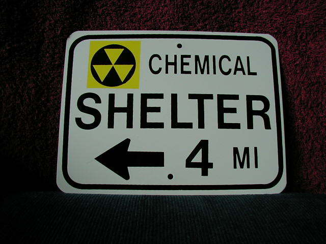 MINI MINIATURE CHEMICAL SHELTER TRAFFIC SIGNS 8""