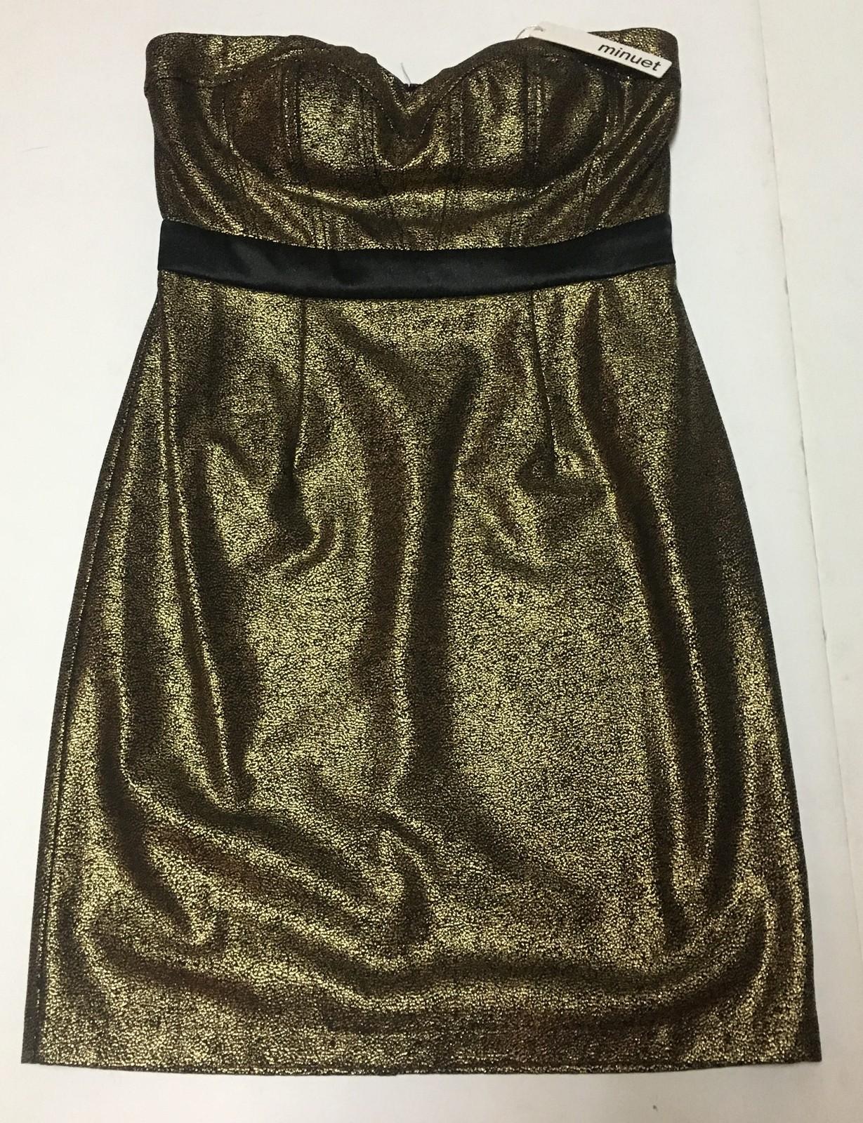Minuet Gold & Black Halter Mini Dress SZ M