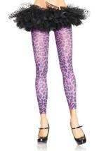 LA7751 Purple Leopard Print Footless Tights - $185,18 MXN