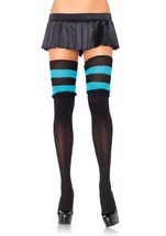 LA6554 (Black/Turquoise) Scrunchy Knit Thigh High - $10.88
