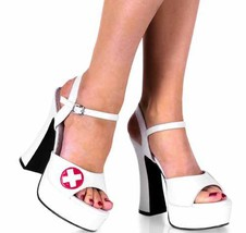 10 (6, White) Nurse White Patent Platforms [Apparel] - $20.88