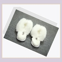 Soft White Thick Fuzzy Feather Haired Thong Sheepskin Slippers image 2