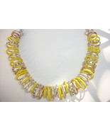 $125 Kenneth Cole 'Urban Rings' Necklace Yellow Silver Gold Hematite Cry... - $29.00