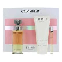 Calvin Klein Eternity 3.4 Oz EDP Spray + Body lotion 6.7 Oz + Mini Spray .33 Oz  image 1