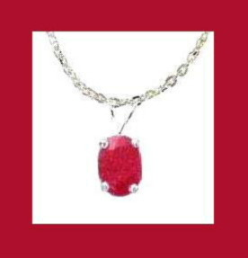 Genuine 1.50ct RUBY Pendant Sterling Silver Chain Necklace