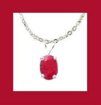 Genuine 1.50ct RUBY Pendant Sterling Silver Chain Necklace - $39.99