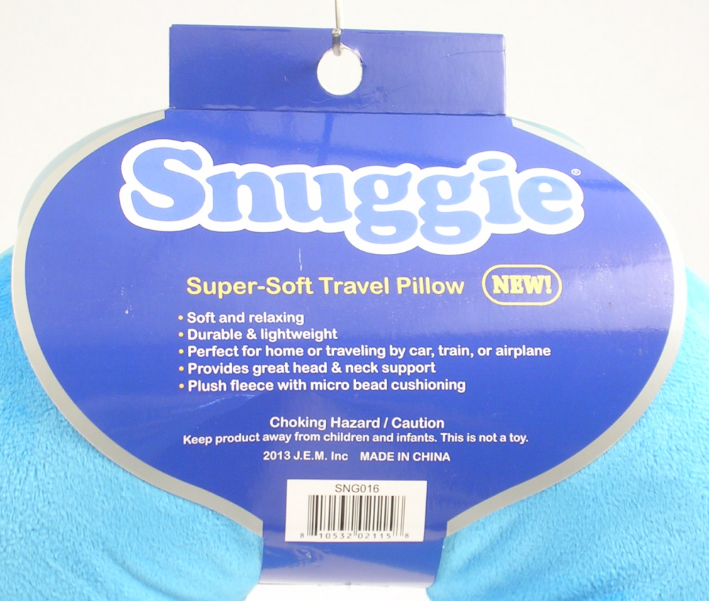 Snuggie Brand Super Soft Travel Pillow Light Blue #SNG016 New with 1 Tiny Stain